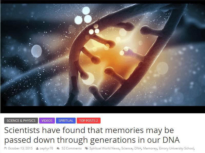 מדענים גילו שניתן להעביר זיכרונות לדורות הבאים ב- DNA שלנו